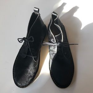 Zara black hair calf lace booties